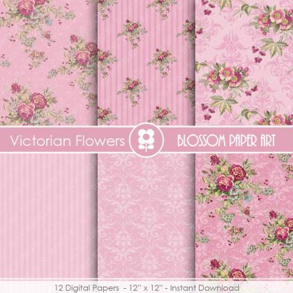 Rose Digital Paper, Shabby Chic Dig..