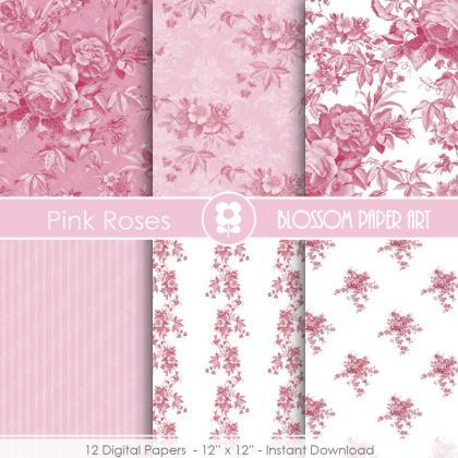 Pink Rose Digital Paper Floral Digi..