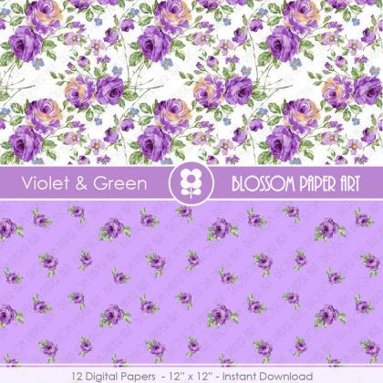 Violet Floral Papers, Rose Digital ..