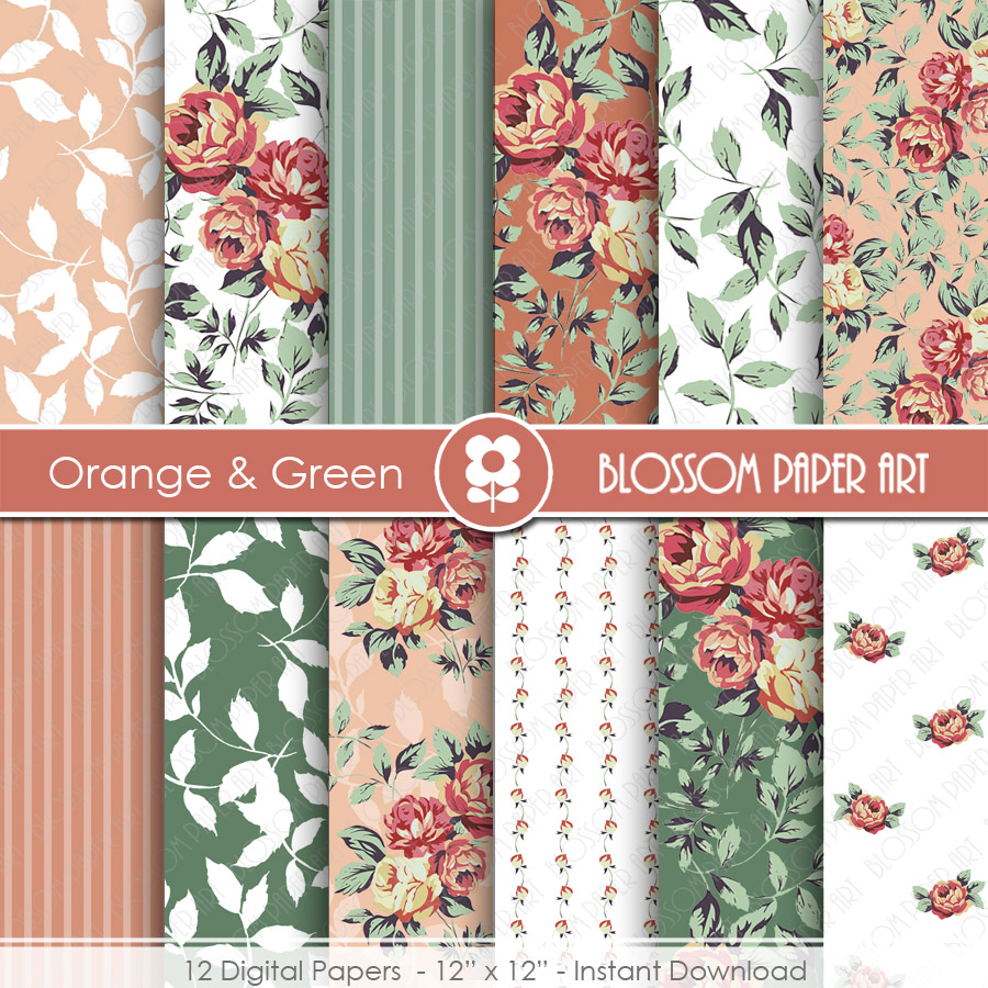 Flower Digital Paper Pack, Red Flowers Digital Scrapbooking Pack - Red and Green Floral Papers - 1949